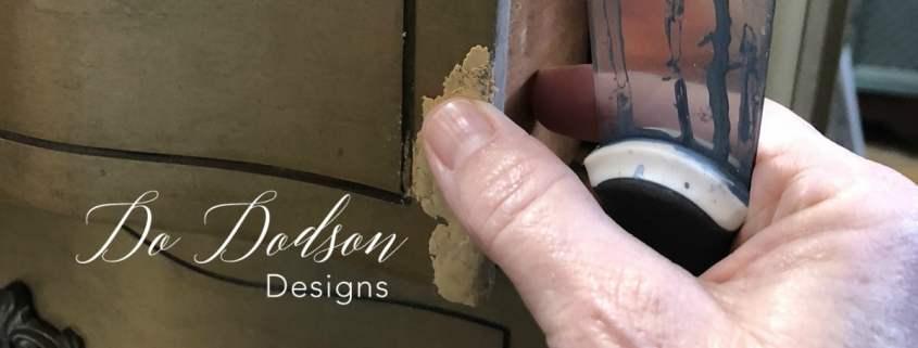 Wood filler repair for wood furniture.
