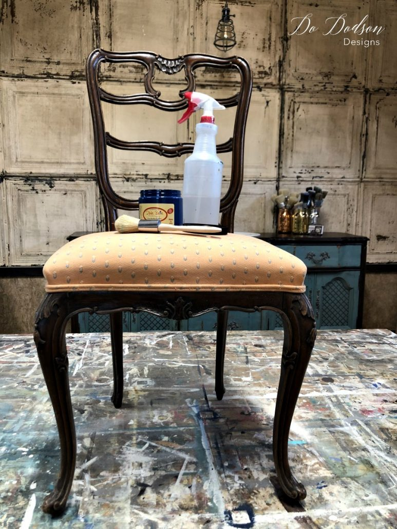 Look what painting fabric did for this chair! #dodsondesigns #paintingfabric #fabricpaint #paintedchair #upcycled #repurposed #paintedfurniture #furnituremakeover