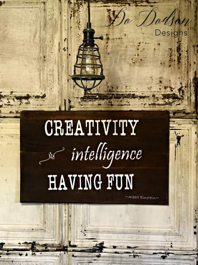 CREATIVITY Is Intelligence Having Fun! Eye Catching Grey Sideboard That Will Change Your Mind About Paint. #dododsondesigns #creativity #quote #alberteinstein #