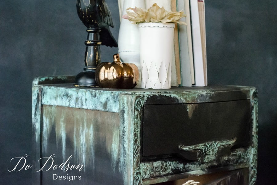 Copper patina is quick and easy with Dixie Belle patina paint and activator spray. You totally should try it!