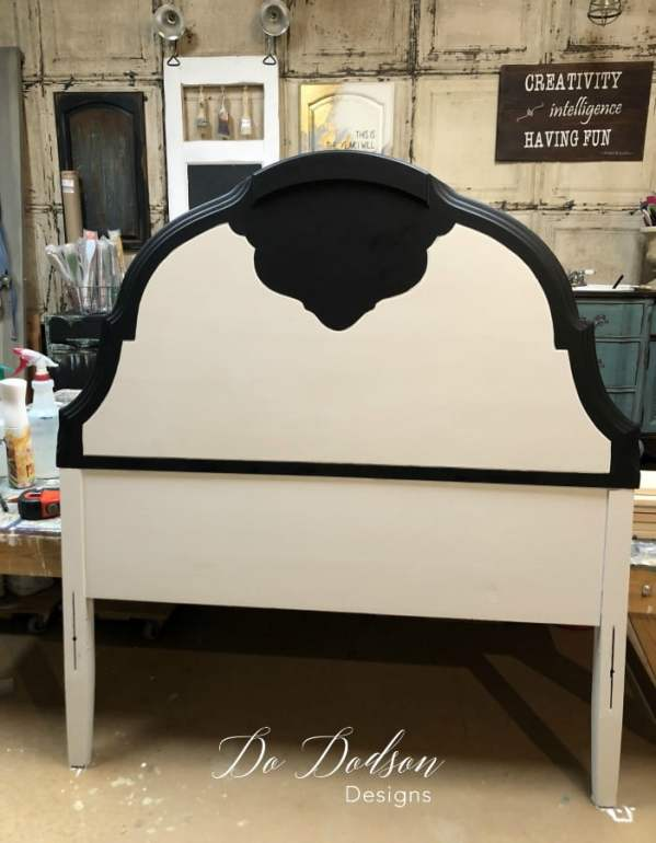 I painted my headboard bench project with Cotton and Caviar before building the bench.