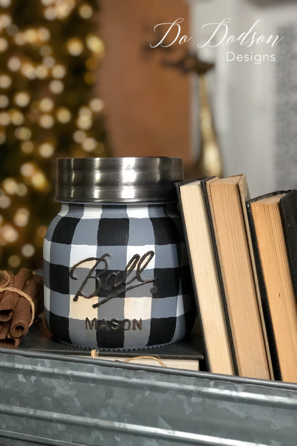 Painting a buffalo plaid design on a mason jar is easier than you think.