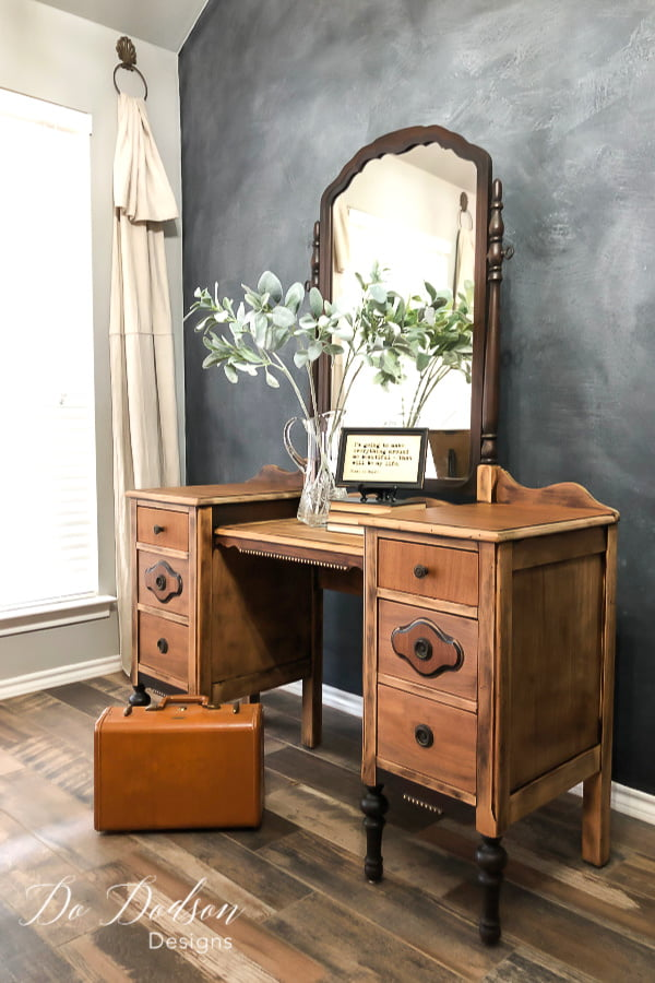 The natural beauty of raw wood furniture is a show stopper and a great way to add a modern element to antique furniture.
