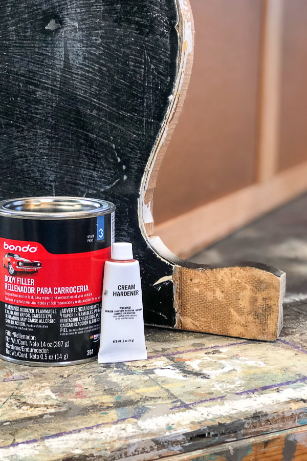 Many times I've passed up project pieces because of furniture repair issues. Furniture repair thought can be costly and time consuming. That was before I discovered Bondo for my wood furniture repairs. It's not just for auto body repairs.