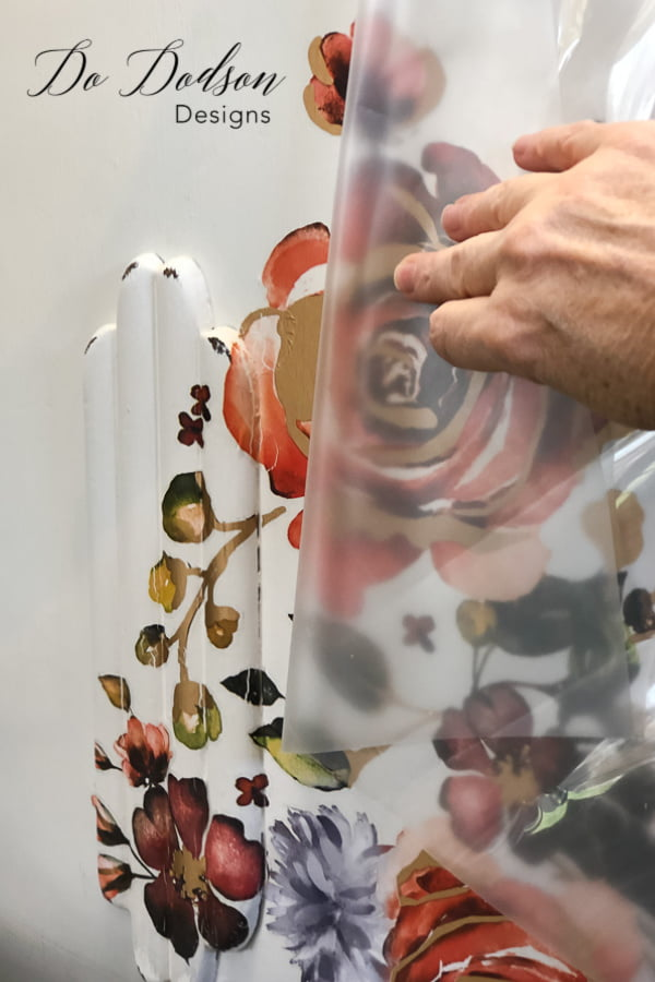 Decor transfers are easy to apply to painted furniture.