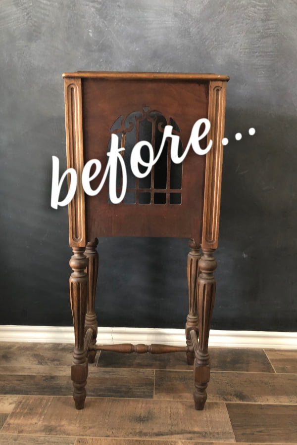I have a side table idea for this antique speaker cabinet. You gotta see this!