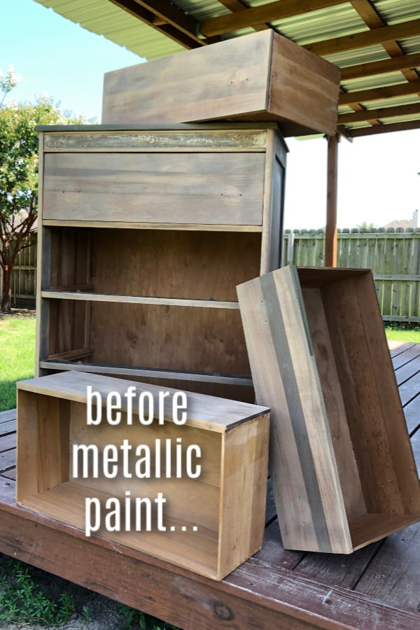 You won't believe what metallic paint will do to wood furniture! Learn how to paint metallic furniture the easy way.