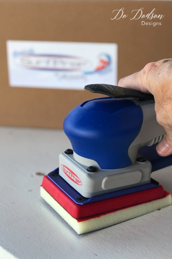 One of the best sanders for furniture makeovers is the SurfPrep 3X4 Electric Ray Sander.