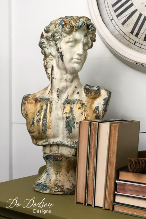 I wasn't sure the aged patina on Michelangelo's David would look good with my farmhouse decor. I'm thing it looks great!