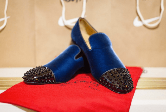 Studded Navy Christian Louboutin Loafers