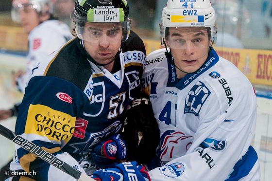 Fabian Schnyder (EVZ) und Chris Baltisberger (ZSC)