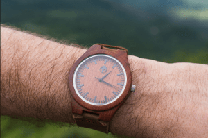 Viable Harvest Sandalwood Watch With White Face