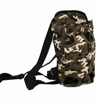 Geartist PB201 Adjustable Front Pet Bag Canvas Strap Dog Cat Carrier Backpack Legs out , Hands-free With Safety Clip for Travel, Walking, Hiking, Bike and Motorcycle (XL, camouflage)
