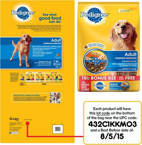 Pedigree Dog Food Recall Package Details
