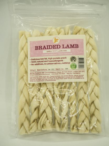 634158675843 JR 100% Healthy Braided Lamb Tendon Twist 100g