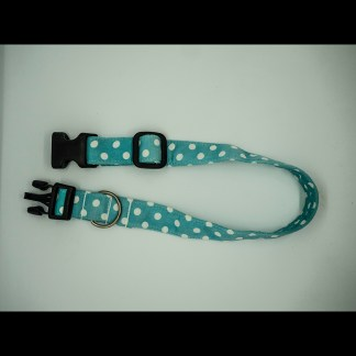 White Polka Dots on Aqua Collar