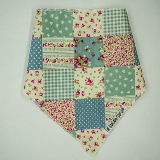 Patchwork Floral Blue Green Large Bandana