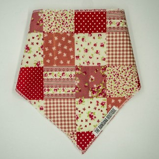Patchwork Floral Pink Red Medium Bandana