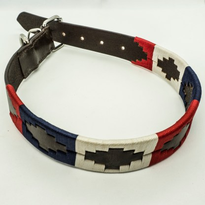 Red White and Blue Polo L Leather Collar