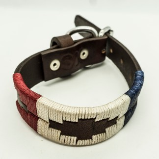 Red White and Blue Polo XS Leather Collar