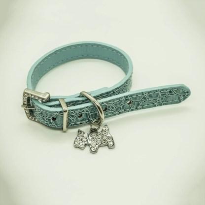 Wagytail Mock Croc Aqua Collar