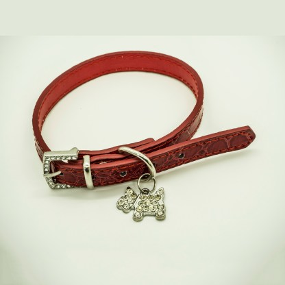 Wagytail Mock Croc Red Collar