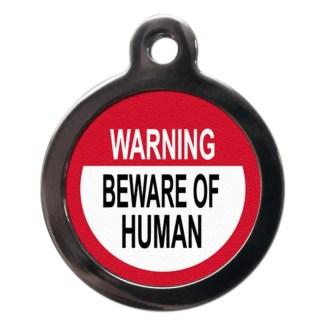 Beware of the Human CO56 Comic Dog ID Tag