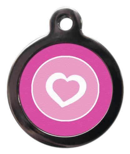 White Heart on Pink PA28 Pattern Dog ID Tag