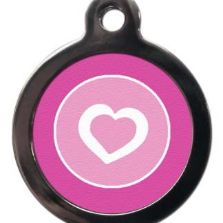 White Heart on Pink PA28 Pattern Dog ID Tag