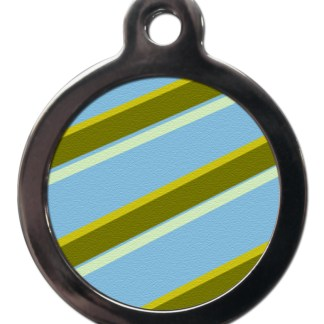 Blue and Green Stripes PA4 Pattern Dog ID Tag