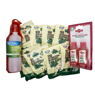 Small Poo Bags and Hand Sanitiser Bundle with Free Travel Water Bottle