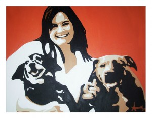 Cheryl and dogs painting