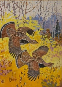 Lynn Bogue Hunt grouse painting, coming up at Copley Fine Art Auctions
