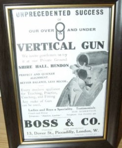 Advertisement for Boss's Over and Under double barrel shotgun