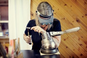 Tomlin working on her latest project. Pic by Stacey Van Berkel