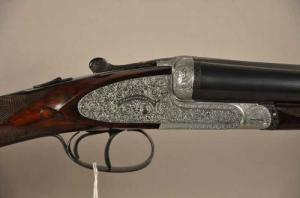 "G. Parenti 12 ga. side by side shotgun, 27 1/2"", Scroll Engraved, Hard Case, Italy"