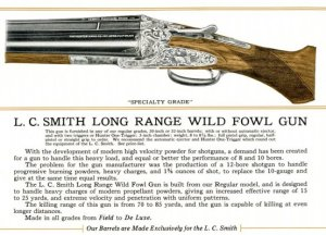 Catalog Description of L.C. Smith's Long Range Wildfowl Double Barrel Shotgun