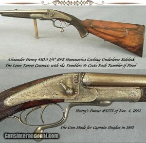 "Alexander Henry, 450 3 1/4"" Black Powder Express, Double Rifle"