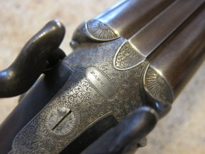 Lucas scroll on an early J. Purdey & Son, Double Barrel, Centerfire shotgun