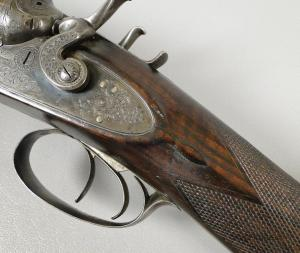 12g William Powell & Son, Double Barrel, Bar-in-Wood, Double Barrel Shotgun