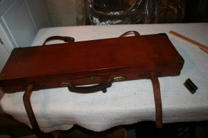 Genuine James Woodward & Sons oak & leather Over Under Shotgun Case