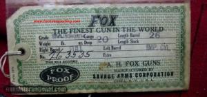 A.H. Fox Sterlingworth Deluxe 20ga SxS Shotgun. Cased, with original HANGTAG