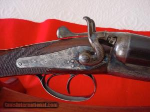"12 gauge Webley & Scott hammergun, 30"" bbls"