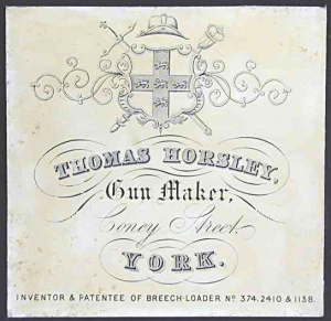 Thomas Horsley, Gunmaker, York, Trade Label