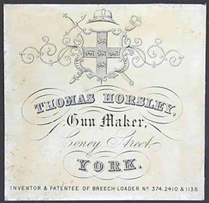 Thomas Horsley, Gunmaker, York, Trade Label
