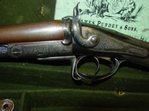12 gauge James Purdey hammer shotgun # 7270 circa 1866, pic courtesy Gun-Vault.com