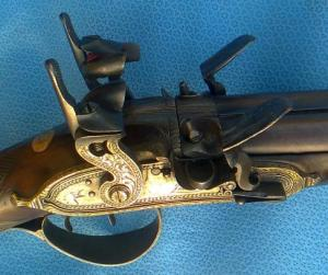 "20g Charles Jones ""Flint-Cusssion"" SxS shotgun. Image courtesy Pembroke Fine Arms"
