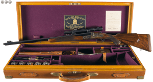 Cased Holland & Holland Engraved Royal Double Barreled Express Rifle in 375 Magnum Flanged Cartridge Complete with all H&H Accessories and Factory Documentation