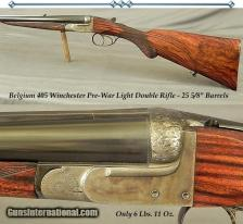 """BELGIUM SxS 405 WIN- EXC PRE-WAR DOUBLE- EXC PLUS BORES- EXC WOOD- ONLY 6 Lbs. 11 Oz.- 25 5/8"""" Bbls:"""