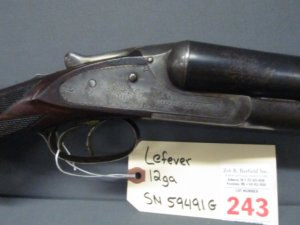 Lefever double barrel 12ga shotgun Steel barrel length 28in Length of pull 13.5in SN 59491G